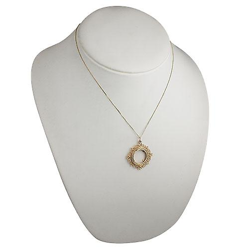 9ct Gold 32mm Half Sovereign mount with a diamond cut Bezel Pendant with a curb Chain 18 inches