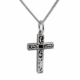 Silver 20x13mm hand engraved solid block Cross with a curb Chain 24 inches