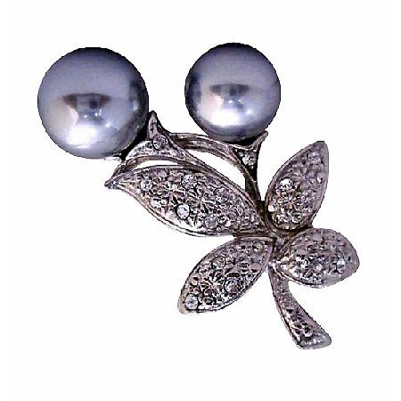 Gray Faux Pearls Bud Flower Fashion Brooch Pin with Cubic Zircon