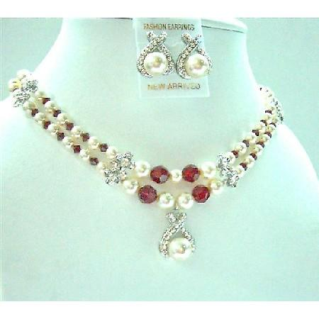 Double Stranded Necklace Bridesmaid Cream Pearsl Siam Red Crystals