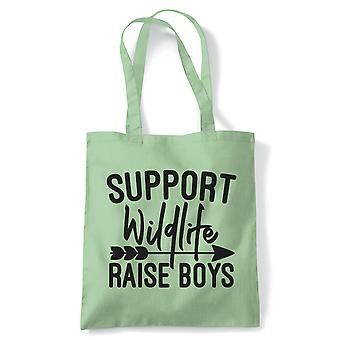 Support Wildlife Raise Boys Funny Mum Tote | Reusable Shopping Cotton Canvas Long Handled Natural Shopper Eco-Friendly Fashion | Gym Book Bag Birthday Present Gift Him Her | Multiple Colours Available