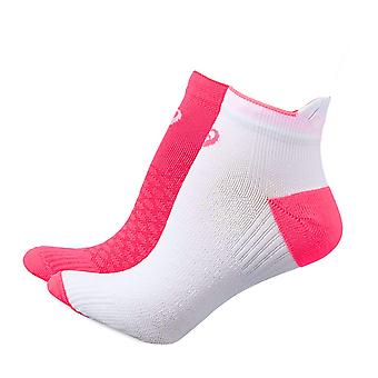 Asics Womens Ladies Cushioned Running Fitness PED Sock (2 Pack) White/Pink