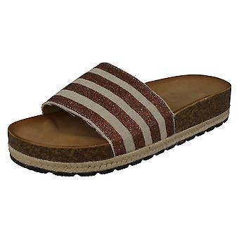 Ladies Savannah Stripey Mule Sandals F10868