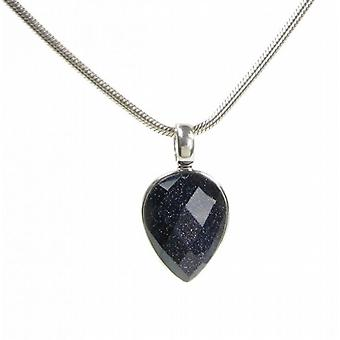 Cavendish French Blue Sandstone Small Faceted Teardrop Pendant without Chain