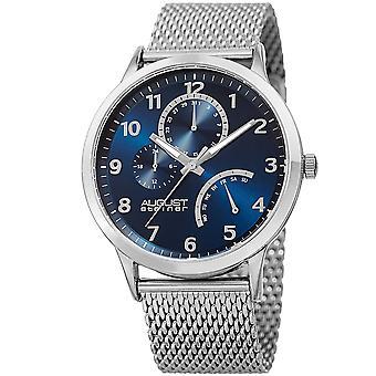 August Steiner AS8230SSBU 24 Hour Indicator Date Steel Mesh Bracelet Watch