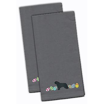Spanish Water Dog Easter Gray Embroidered Kitchen Towel Set of 2