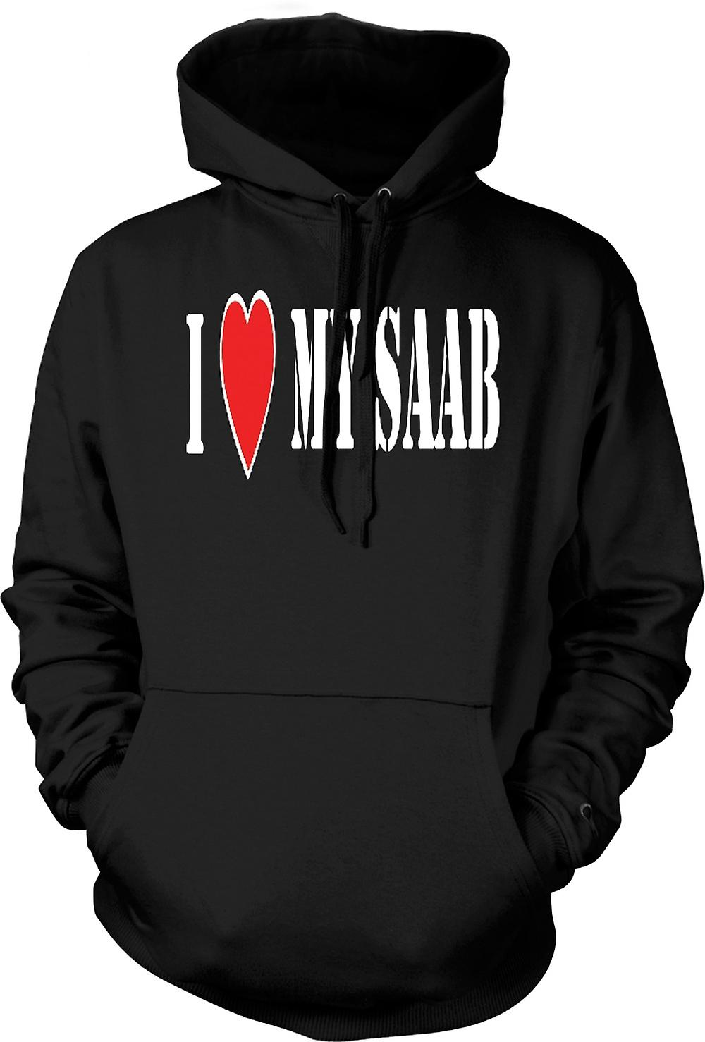Mens Hoodie - I LoveMy Saab - Fun Car