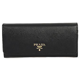 Prada Black Saffiano Leather Flap Wallet 1MH132 QWA F0002