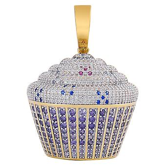 925 sterling silver micro Pave pendant - CUP CAKE gold