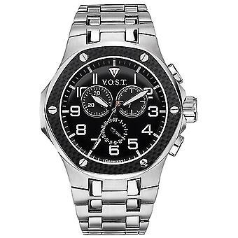 V.O.S.T. Germany V100.007 Carbon Chrono Heren Horloge 44mm