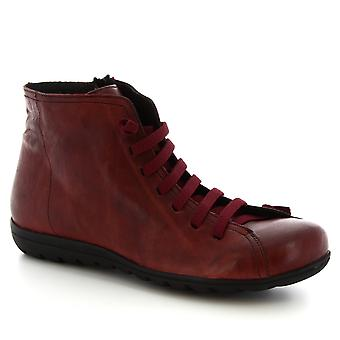 Leonardo Shoes Women's handmade lace-up zip ankle boots burgundy calf leather