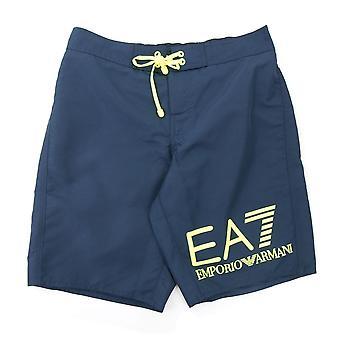 Ea7 EA7 Neon Yellow Logo Swim Shorts Navy Blue
