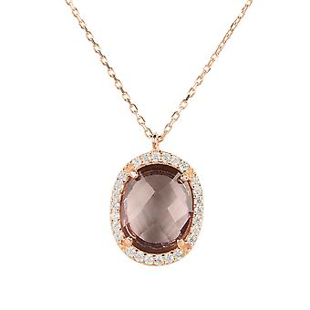 Necklace Rose Gold Amethyst Purple Pendant Gemstone Chain Wedding 925 Sparkle