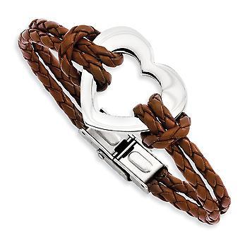 Edelstahl Falte-Over polierte Herz 7,5 Zoll Leder-Armband