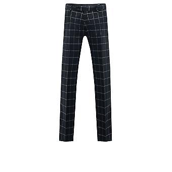 Dobell Mens Black/White Check Suit Trousers Regular Fit