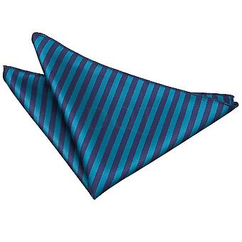 Navy Blue & Teal Thin Stripe Handkerchief / Pocket Square
