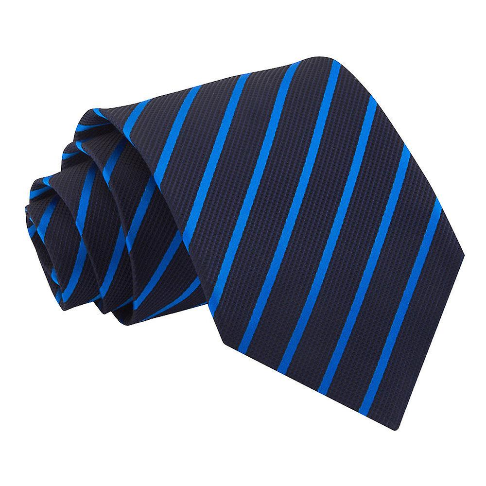 Single Stripe Navy & Mid Blue Tie
