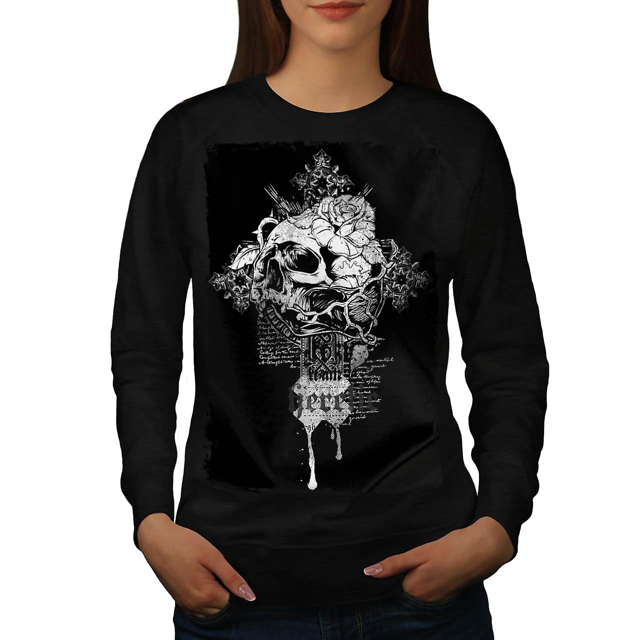 Rose Dead Flower Skull Women Black Sweatshirt | Wellcoda