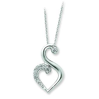 Sterling Silver Polished Gift Boxed Spring Ring Rhodium-plated Cubic Zirconia Necklace - 18 Inch