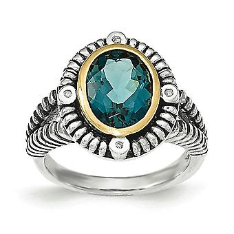 Sterling Silver With 14k London Blue Topaz and .02ct Diamond Ring - Ring Size: 6 to 8
