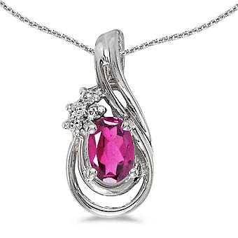 10k White Gold Oval Pink Topaz And Diamond Teardrop Pendant with 18
