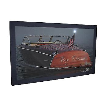 Bay Dreamer LED Lighted Classic Boat Canvas Wall Art Print