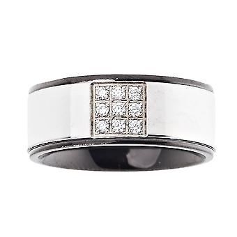 Iced out bling stainless steel ring - 9 STONES silver / black