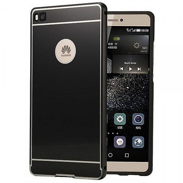 Aluminium bumper 2 pieces with cover black for Huawei Ascend P8 Lite