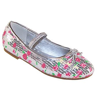Girls silver and pink sparkly ballerina shoes