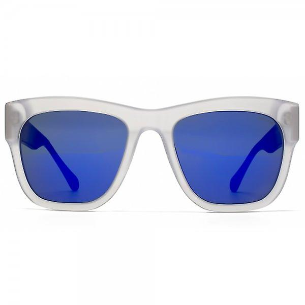 Police Bold Square Sunglasses In Matte Clear Blue Mirror