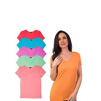 Agiato kvinders grundlæggende Rayon V hals T-Shirt 6-Pack