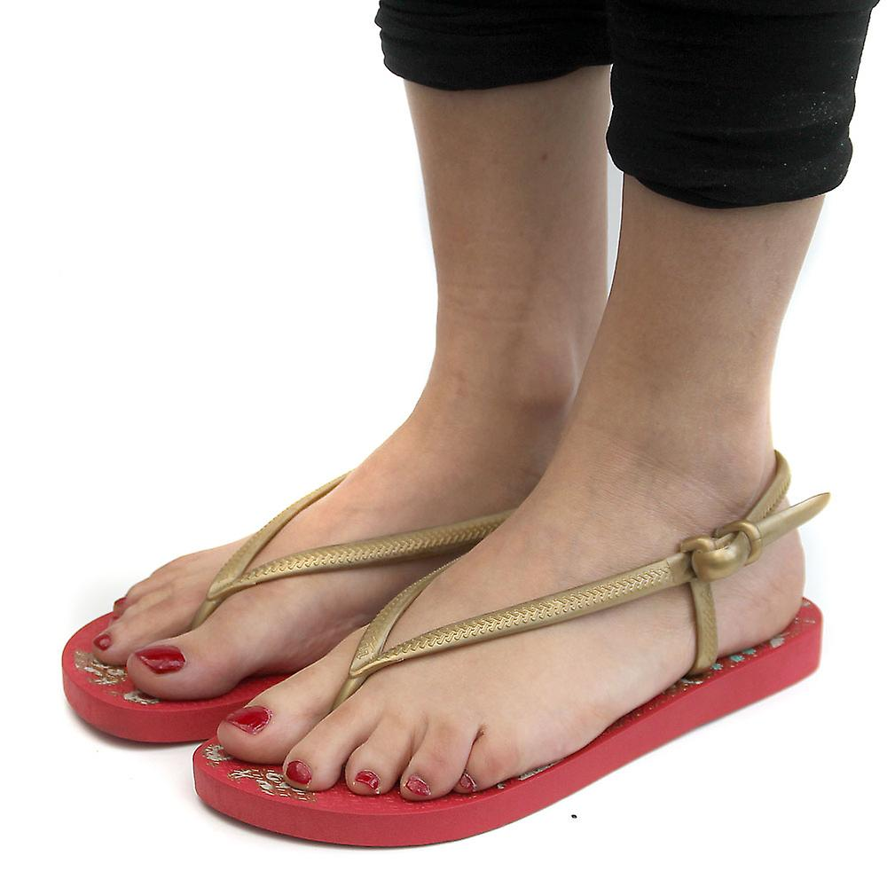 Dunlop Red/Gold Blown PVC Slingback Toe Post Womens Flip-Flops