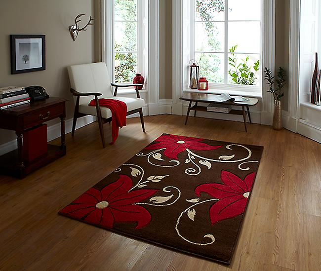 Verona OC15 Brown - Red Brown and red Rectangle Rugs Modern Rugs