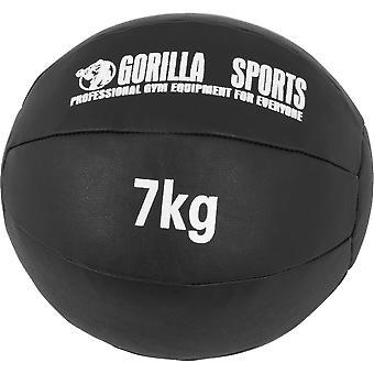 Medizinball aus Leder in Schwarz 7 kg