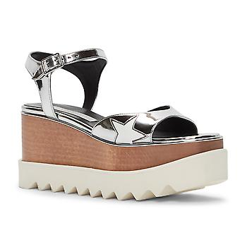 Stella McCartney vegan silver wedges sandals shoes