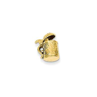 14k Yellow Gold Solid Polished 3-D Beer Stein Charm - 2.3 Grams