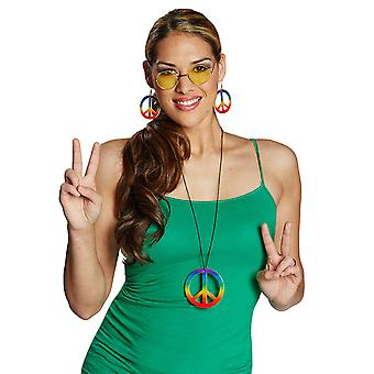 Peace chain colorful necklace peace sign Rainbow accessory