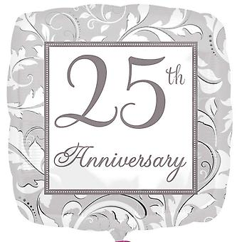 Anagram 18 Inch 25th Anniversary Elegant Scroll Square Foil Balloon
