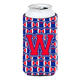 Letter W Football Crimson and Yale Blue Tall Boy Beverage Insulator Hugger