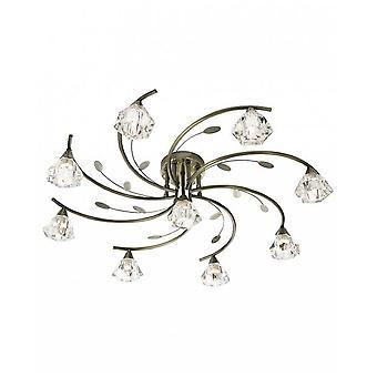 2639-9AB Sierra 9 Light Semi Flush Ceiling Light Antique Brass