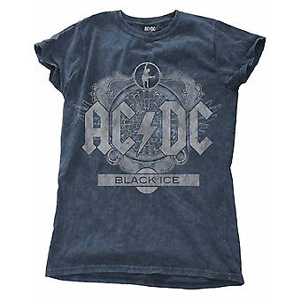 AC/DC T Shirt Black Ice new Official Womens Skinny Fit distressed Snow Wash