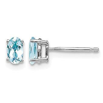 2/3 Carat (ctw) Solitaire Oval Cut Aquamarine Earrings in 14K White Gold