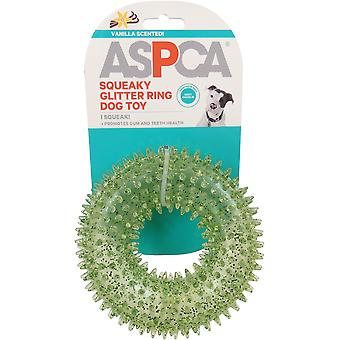 ASPCA Squeaky Glitter Ring Dog Toy-Green AS11141-GREEN