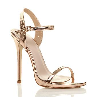 Ajvani womens very high heel buckle strappy metallic barely there sandals