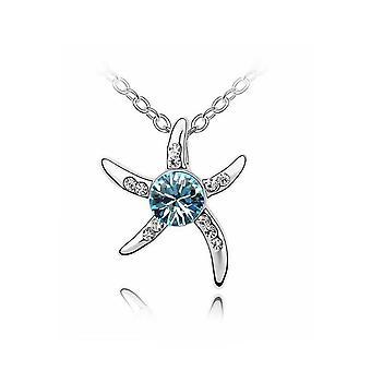 Womens Silver Starfish Necklace Blue Crystal Stone BG1078