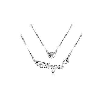Necklace Angel Crystal Cubic Zirconia white and Rhodium plate
