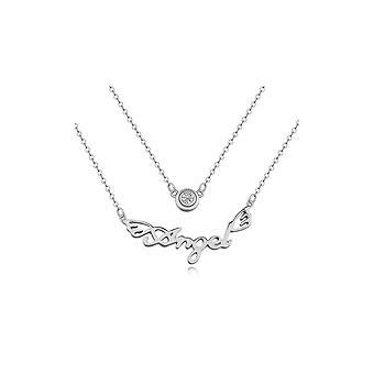 Белый ангел кристалл кубический цирконий ожерелье и родием пластины