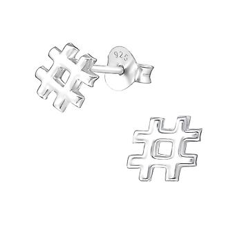 Hashtag - 925 Sterling Zilver Plain Ear Studs