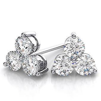 1ct Genuine Diamond 3 Stone Earrings 14K White Gold
