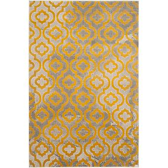 Short-pile woven rug living room indoor carpet grey yellow indoor rugs - Pacific Evergreen GREY YELLOW 92 / 152 cm - rug for the living room inside